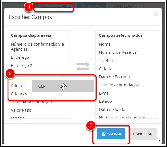 """Para escolher os campos que você deseja ter disponíveis, clique em """"modificar campos"""" (1)."""
