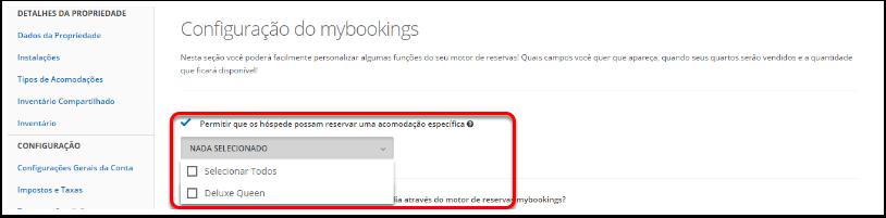 4. Vá para Configurações> Configuração do mybookings