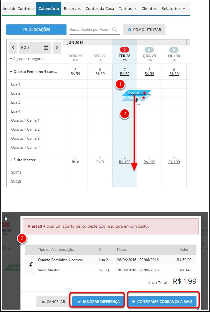"""Opção 1 - Calendário (somente para reservas com status """"CONFIRMADA"""" ou """"NÃO CONFIRMADA"""")"""