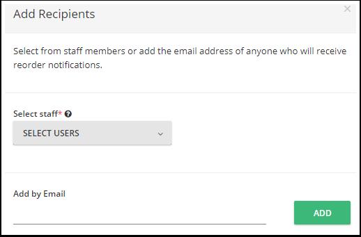 Você pode adicionar  destinatários para uma notificação por e-mail quando determinado item atinge o limite de estoque. Os destinatários podem ser usuários ou qualquer outro endereço de e-mail.