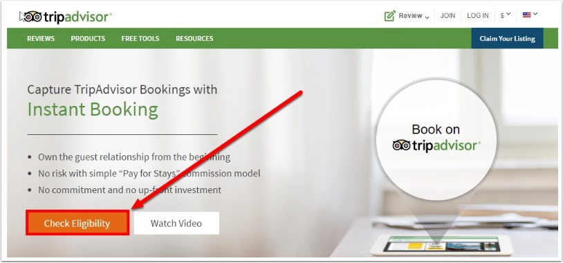Step 2: If you do not have an account yet with Tripadvisor Instantbooking, click here to setup your property with them first: