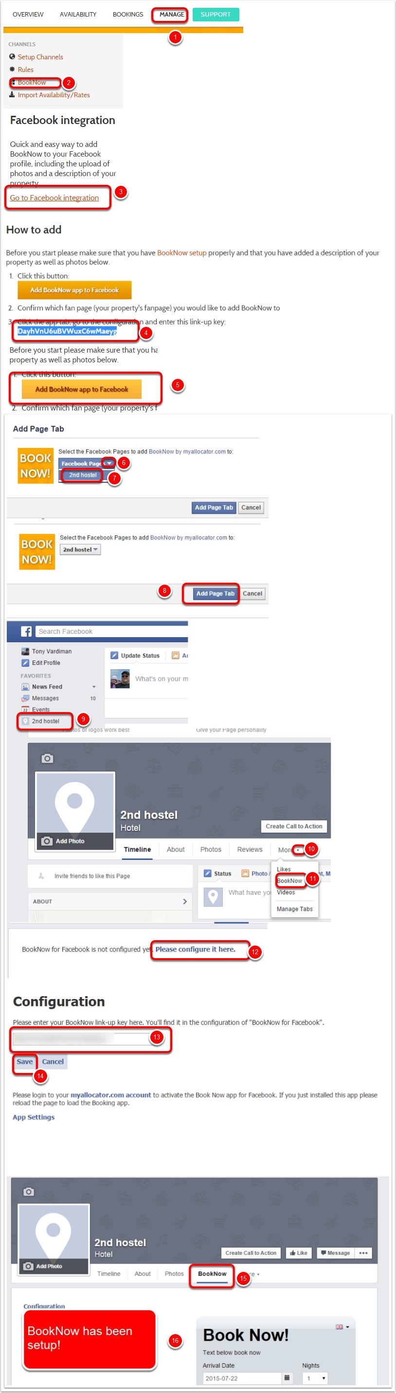 Step 2:  Go to BookNow Facebook Integration
