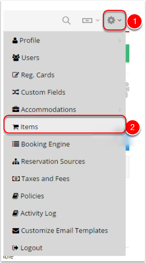 """Step 2: Click on """"Settings"""" gear icon - Items"""