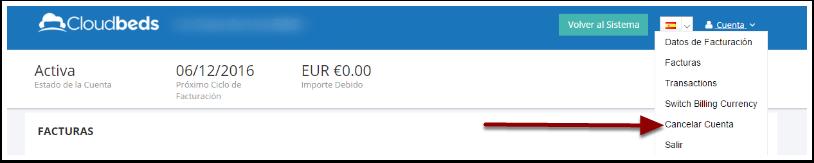 Una vez dentro, clicar en la opción Cancelar mi Cuenta