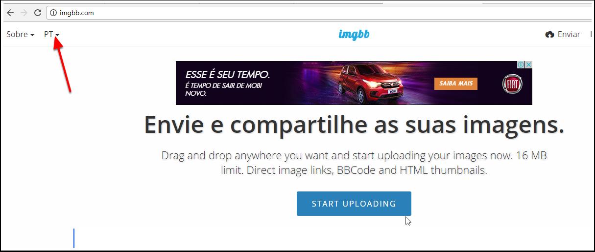 1.Acesse o site http://imgbb.com/  e adicione sua imagem para ser convertida.