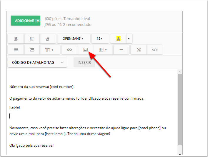 3. Clique no ícone da imagem dentro do modelo de e-mail: