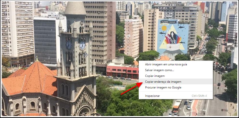 5- Clique sobre a imagem com o botão direito do Mouse e copie o endereço da imagem