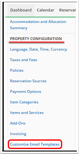 3. Locate Customize Email Templates option under PROPERTY CONFIGURATION section