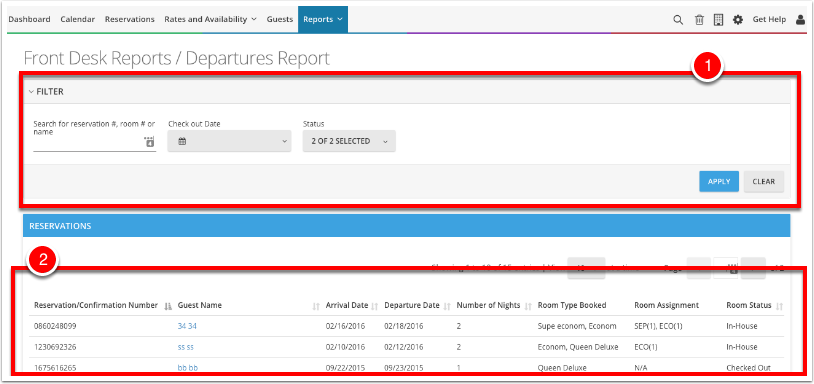 Navigate to Reports - Frontdesk Reports - Departures Report