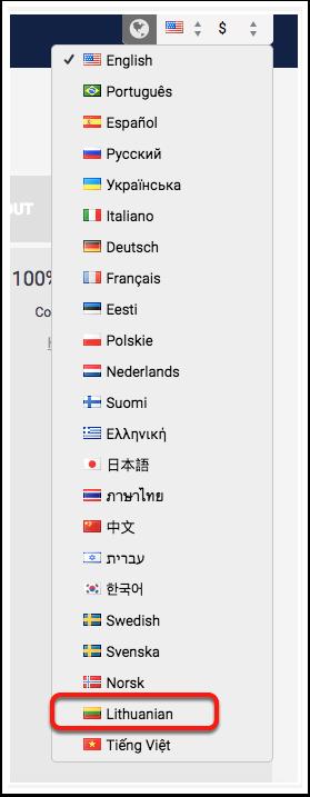 12 - Idioma Lituano foi adicionado no motor de reservas