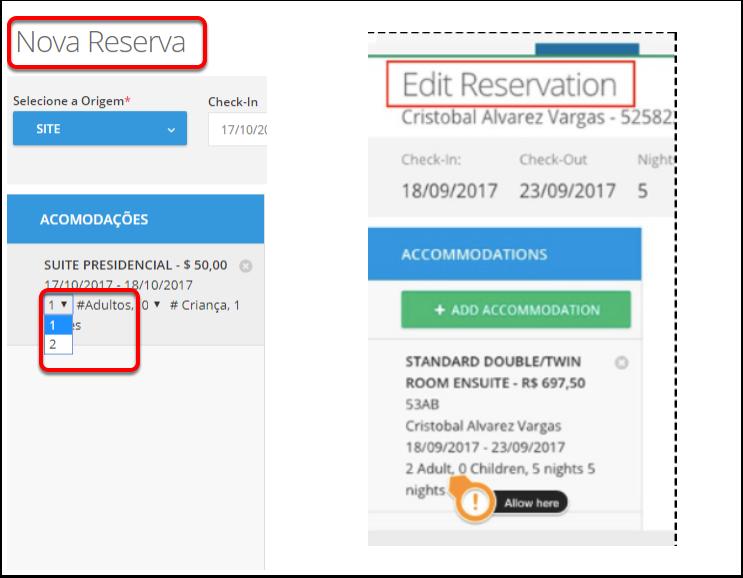13 - Editar o número de hóspedes ao modificar uma reserva