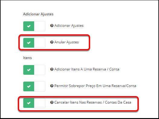 4 - Nova Permissão de Usuário para controlar o cancelamento e ajuste de itens
