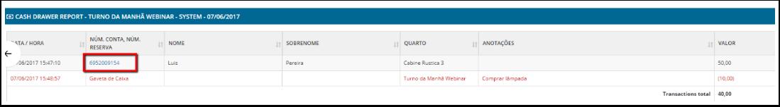 Link para acessar a reserva foi adicionado ao relatório de Gaveta de Caixa