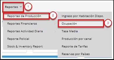 1. Vaya a Reportes de Producción / Informe de ocupación