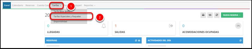 Paso 2: Haz clic en TARIFAS - Tarifas Especiales y Paquetes
