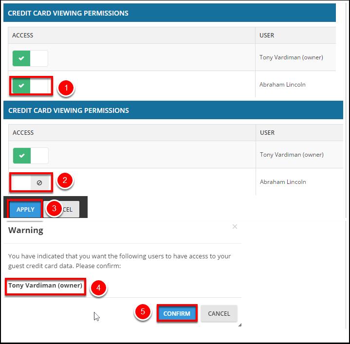 1.2. Revisando privilegios de visualización de la tarjeta de crédito