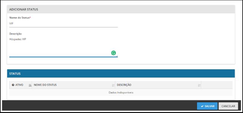 """Passo 4 - Preencha o nome do Status, adicione uma descrição e clique em """"salvar"""""""