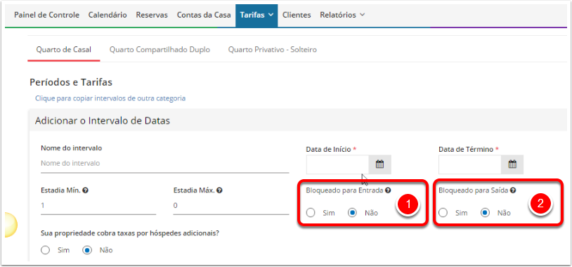 Bloqueio de Check in e Check out.