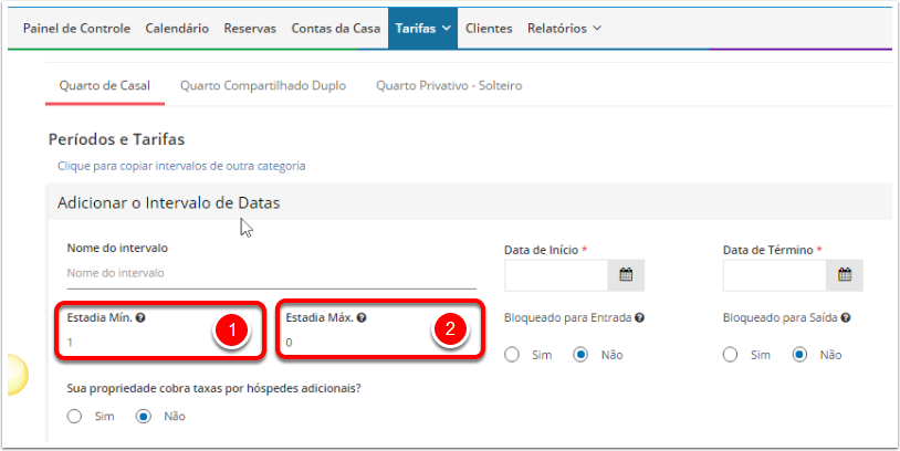 O sistema myfrontdesk mostrará algumas opções de restrições para cada intervalo de tarifas: