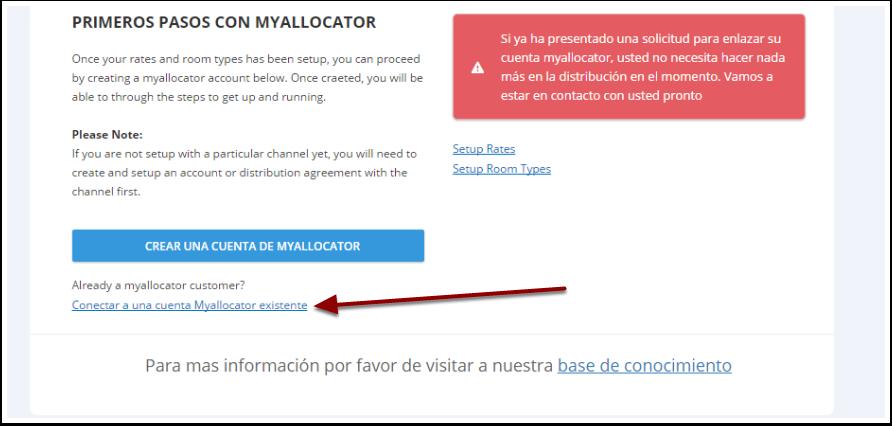 """Clica en """"Conectar una cuenta Myallocator existente""""  e ingresa los datos de tu cuenta"""