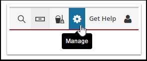 """1-. Clique no ícone de engrenagem """"gerenciar"""" para acessar o menu de configurações e navegue até a página Políticas"""