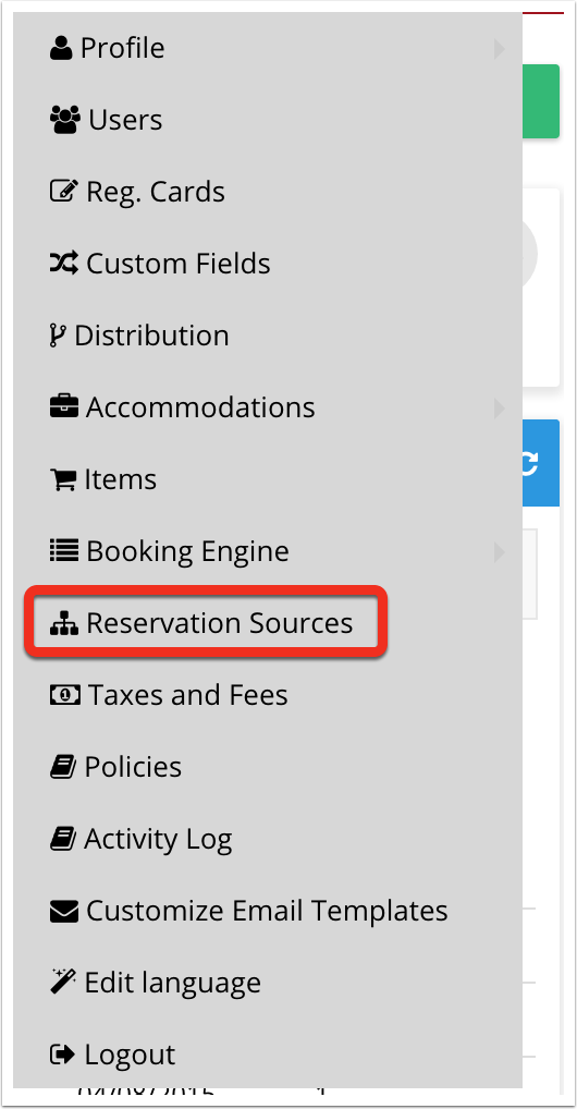 Go to Reservation Sources settings.