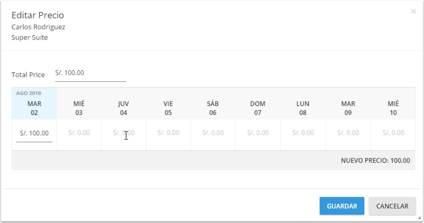 Edita los precios por día específicos