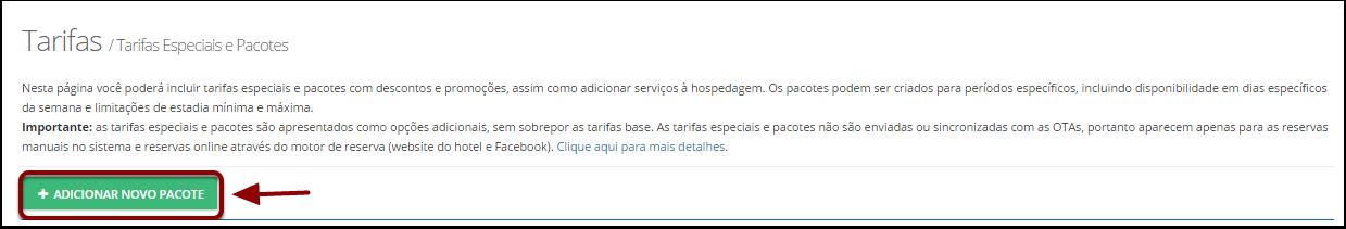 """Passo 3: Clique em """"+ Adicionar Novo Pacote"""""""