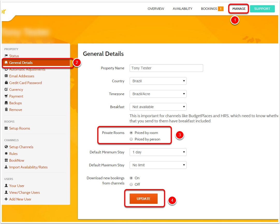 Step 1: Access General Details and update the Private Rooms Option