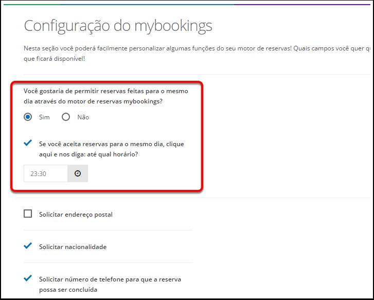Navegue pela aba de configurações -> Motor de Reservas -> Configuração do mybookings