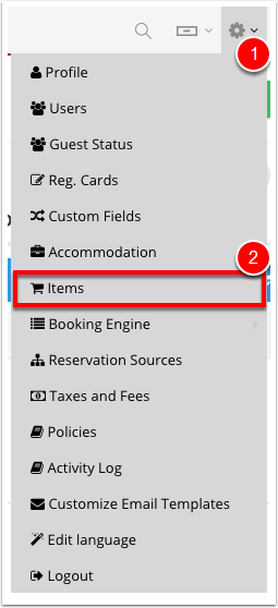 Step 1: Navigate to Settings - Items