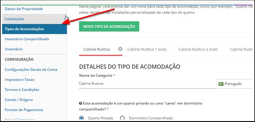 """Passo 2: Clique no ícone de """"Configurações"""" em seu painel de controle e clique em """"Tipos de Acomodações""""."""