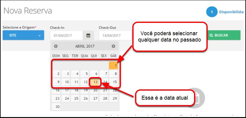 """Passo 2: Na página """"Nova Reserva"""", clique na guia Check-In. No calendário que aparecerá, você verá que é possível escolher datas passadas."""