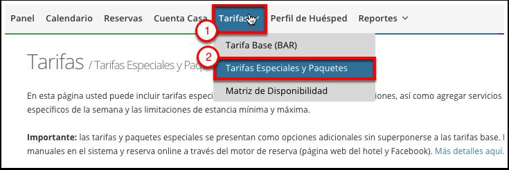 Paso 2: Haga click en Tarifas y elija Tarifas Expeciales y Paquetes