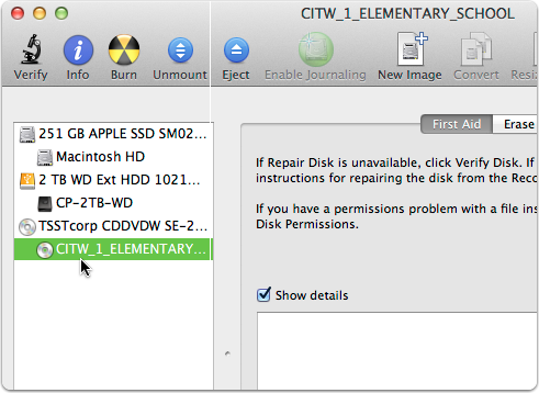 4. Select the DVD in Disk Utility