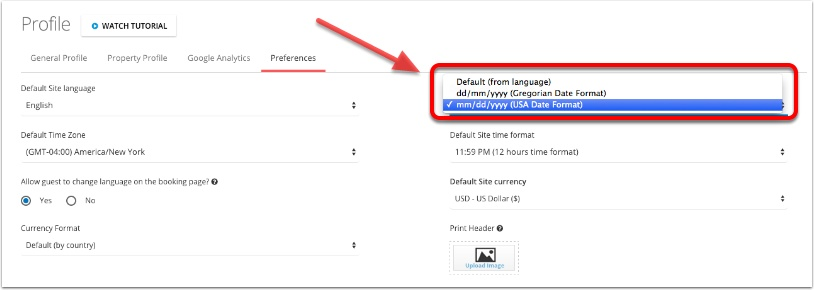 Step 4:  Change the date format drop down to your desired format