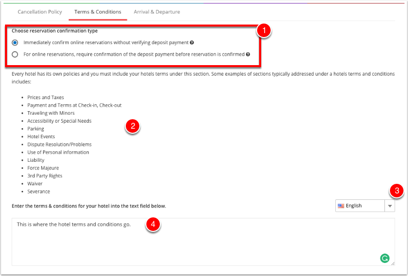 Step 4: Setup up your terms and conditions