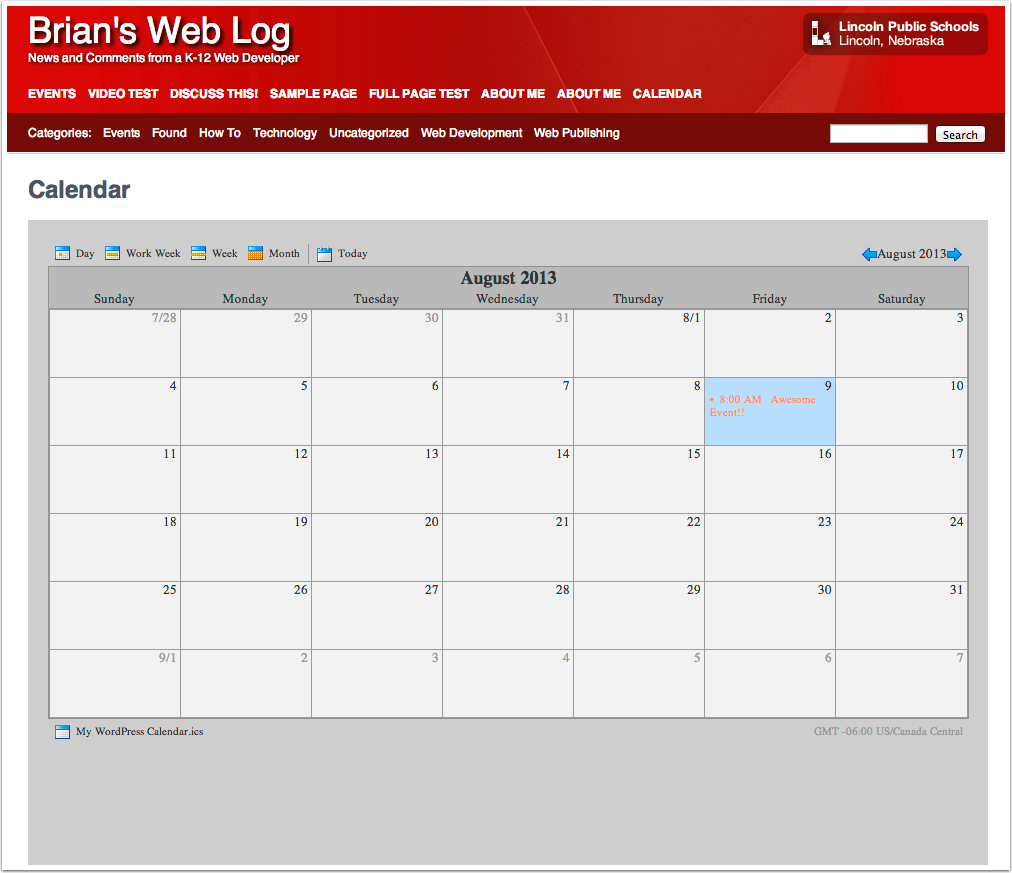Calendar on WordPress!!
