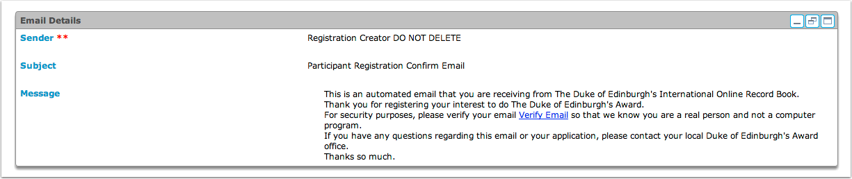 Verify your email View Notification 'Participant Registration Confirm Email'