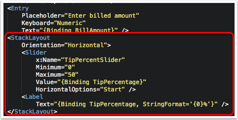 Add a Tip Percent Slider and Label to Show Its Value