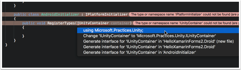 Add Microsoft.Practices.Unity Using Statement