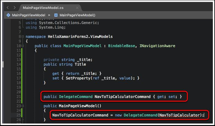 Add NavToTipCalculatorCommand to MainPageViewModel