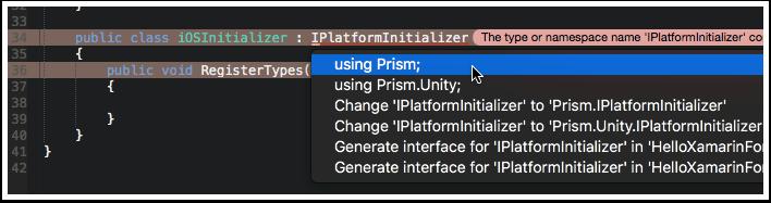 Add Prism Using Statement