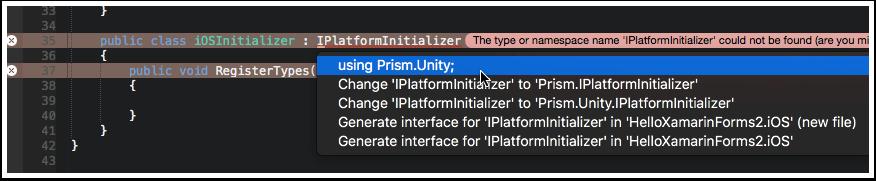 Add Prism.Unity Using Statement