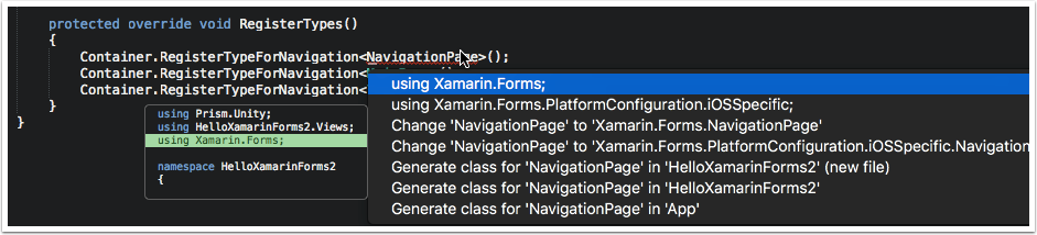 Add Using Statement for Xamarin.Forms
