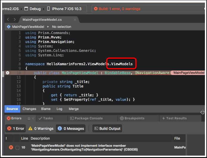 Fix the MainPageViewModel Namespace