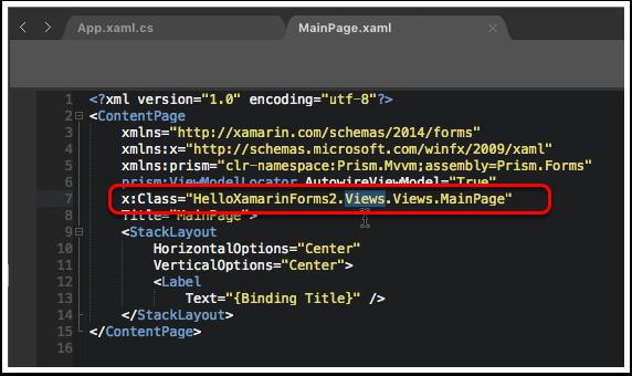Fix the Namespace in MainPage.xaml