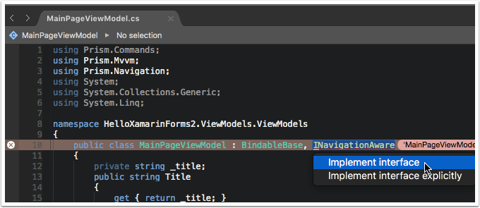 Implement the INavigationAware Interface