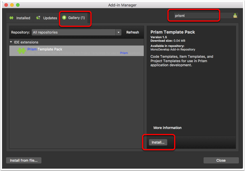Install Prism template pack through Add-in Manager