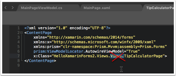 Next Fix the Namespace in Xaml
